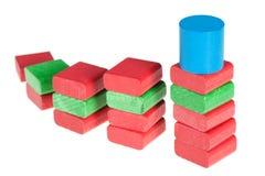 Cubes en bois en couleur Photos stock