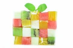 Cubes en couleur de fruits Photographie stock