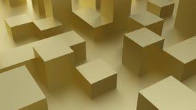 Cubes en or 3d rendent des cylindres d'image Photos libres de droits
