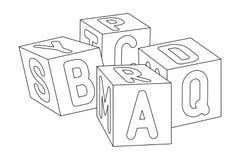 Cubes en enfants avec des lettres Photos stock