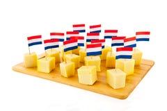 Cubes en fromage de Hollande images stock