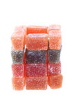 cubes en fruit de sucrerie d'isolement Photos libres de droits