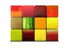Cubes en fruit empilés Image libre de droits