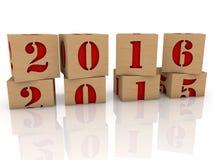 Cubes en jouet avec le message 2016 et 2015 Photos libres de droits