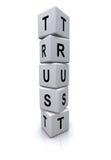 Cubes en lettre de confiance Photographie stock libre de droits