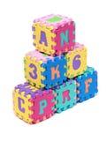 Cubes en lettre de mousse Photos libres de droits