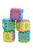 Cubes en lettre de mousse Photo stock