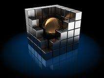 Cubes en métal Photographie stock libre de droits