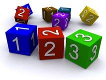 Cubes en numéro Images libres de droits
