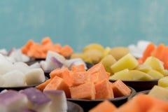 Cubes en patate douce avec l'espace de copie Images libres de droits