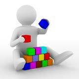 Cubes en pièces d'enfant sur le blanc Image stock