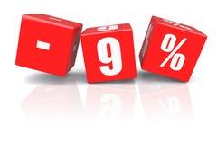 cubes en remise de 9% sur un blanc Images stock