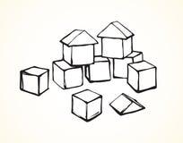 Cubes en ` s d'enfants Retrait de vecteur illustration stock