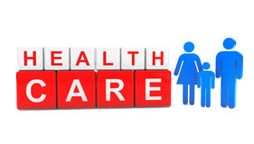 Cubes en soins de santé avec la famille de personnes Image stock