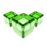 Cubes en verre vert d'isolement Images stock