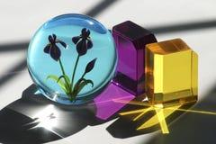 Cubes et presse-papiers en verre Images libres de droits