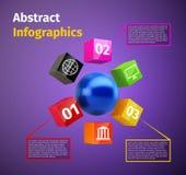 Cubes et sphère 3d infographic Images libres de droits