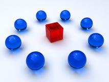 Cubes et sphères en verre Images stock