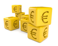 Cubes with euro sign. Isolated on white Royalty Free Stock Photo