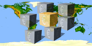 Cubes with an eurocurrency sign against the world map Royalty Free Stock Photo