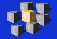 Cubes with an eurocurrency sign on a blue background Stock Photos