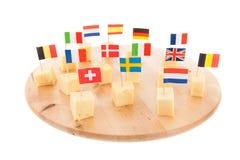 Cubes européens en fromage Images libres de droits