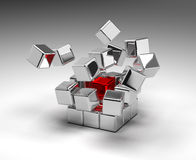Cubes Exploding Stock Photo