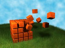 Cubes explosion Royalty Free Stock Photography