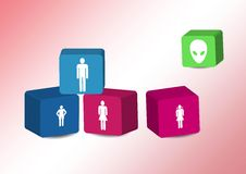 Cubes with family silhouettes. Cubes with the family silhouettes Stock Photography
