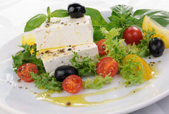 Cubes of feta cheese Stock Photo