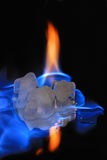 cubes flamming la glace Images stock