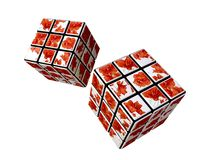 Cubes with Flower Pattern. 3d Cubes with Flower Pattern Royalty Free Stock Photography