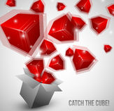 Cubes fly from box very fast Royalty Free Stock Image
