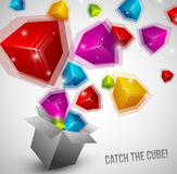 Cubes fly from box very fast Stock Photo