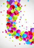 Cubes fly colorful swoosh wave background Stock Image