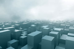 Cubes in fog Royalty Free Stock Photos