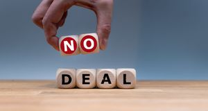 Cubes form the words `no deal`. royalty free stock image