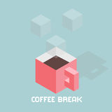 Cubes formed coffee cup, digital coffee break concept, isometric vector illustration Royalty Free Stock Images