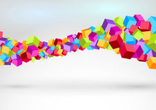 Cubes forming colorful swoosh wave Stock Photos