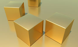 Cubes. Four golden, shiny metallic cubes royalty free illustration