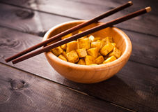 Cubes of fried tofu Royalty Free Stock Image