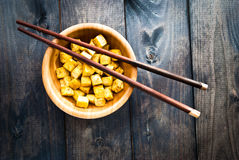 Cubes of fried tofu Stock Images
