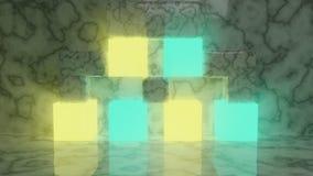 Cubes futuristes rougeoyants en résumé se reposant sur le plancher de marbre illustration libre de droits