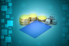 Cubes and gold coin Stock Images