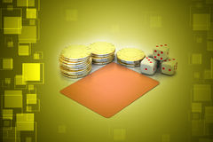 Cubes and gold coin Stock Photo