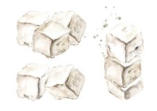 Cubes of greek feta cheese set. Watercolor hand drawn illustration, isolated on white background.  Stock Photography