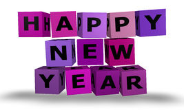 Cubes with happy new year words Royalty Free Stock Photography