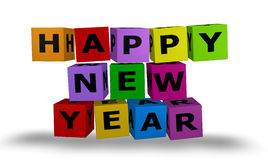 Cubes with happy new year words. Illustration color cubes with happy new year words Royalty Free Stock Image