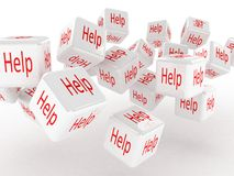 Cubes with a help, 3D images Royalty Free Stock Photos