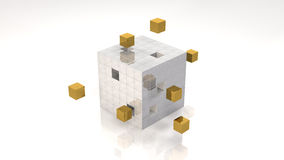 Cubes. Highlighted Gold Cubes in Cube Structure (with clipping path Stock Images